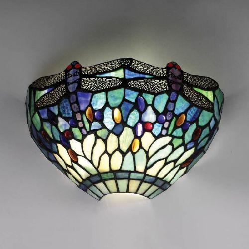 Dragonfly Blue Wall Light (Nature, Tiffany Studio, Traditional, Wall Lamp) T009W (Tiffany style)
